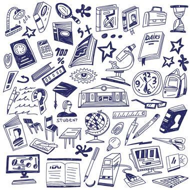 blanding av ikoner: bøker, mobil, student