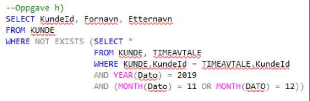 Figur 1: Kandidaten har her skrevet SQL-kode i ett av vedleggene med WISEflow-editoren.