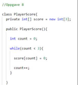 Figur 4: Eksempel på  kode skrevet med C#-editoren. Innrykk og farger påføres da automatisk