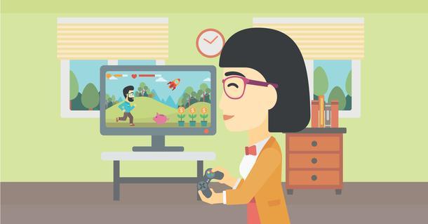 teacher playing video game